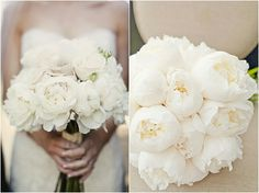 all white peonies orchid ranunculus bouquet