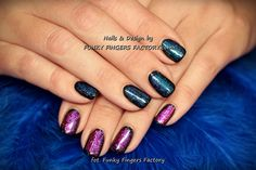 Pink and Blue Gelish Nails with Foils and Glitters  by www.funkyfingersfactory.com
