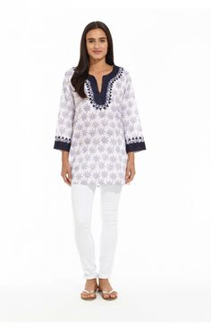 Roberta Roller Rabbit Casa Kurta Hanabi  This summer, capture the beauty and excitement of fireworks with our Hanabi pattern. This festive print will leave you seeing red, white, and blue. We turned our classic kurta up a notch with the Casa kurta which features traditional Aari embroidery with woven metallic thread in a Moroccan pattern around neckline and sleeve cuffs.