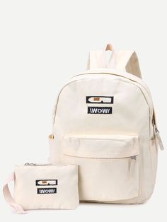 b940d8766d Shop Beige Front Zipper Canvas Backpack With Clutch online. SheIn offers  Beige… Canvas Backpack