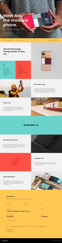 Meet the Ara the Modular Phone. The phone you can truly make your own. Design Web, One Pager Design, Website Design, Website Layout, Web Layout, Website Ideas, Graphic Design, Interface Web, User Interface Design