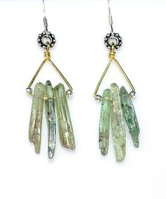 Tiaga Queen Dangle Earrings - Lush Green Raw Kyanite Shards w/ Sterling Silver Ear Wires & Beads Boho, Primitive, Apocalyptic, Festival on Etsy, $19.00
