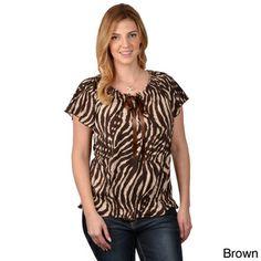 Tressa Designs Women's Contemporary Plus Short-sleeve Animal Print Top