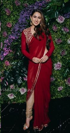 TBZ jewellers appoint Sara Ali Khan as its brand ambassador. India's wellknown jewellery brand – TBZ- The Original has signed the actress Sara Ali Khan as the official Brand Ambassador. Red Saree, Saree Look, Bollywood Celebrities, Bollywood Fashion, Bollywood Actress, Bollywood Stars, Bollywood Couples, Indian Dresses, Indian Outfits
