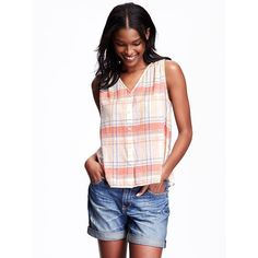 Old Navy Womens Button Down Swing Tank ($15) ❤ liked on Polyvore featuring tops, petite, white button down tank top, white tops, old navy, white tank top and v neck tank top