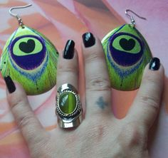 Goddess of Rain Alpaca Silver Cat Eye Ring Love of Color Earrings o Ship 0 Fee $14.80
