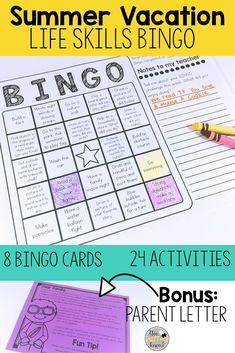 Review Special Education Life Skills over Summer Vacation with this Life Skills BINGO game. Students complete activities with a focus on academic skills, social skills, and fine motor skills to color in squares and earn a BINGO.