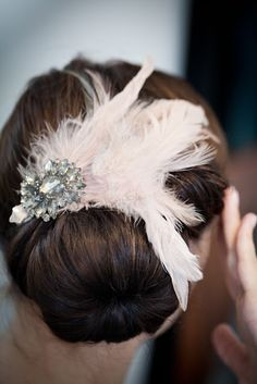 accessories - feather and jeweled hair clip