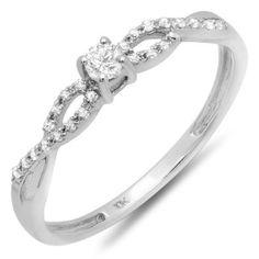 0.20 Carat (ctw) 10K White Gold Round Diamond Bridal Engagement Promise Ring: Jewelry: Amazon.com
