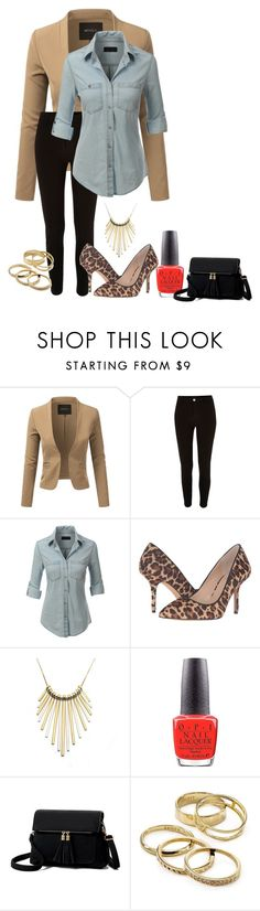 """""""denim shirt with blazer-contest"""" by skylovessave ❤ liked on Polyvore featuring Doublju, River Island, LE3NO, Vince Camuto, Zara Taylor, OPI and Kendra Scott"""