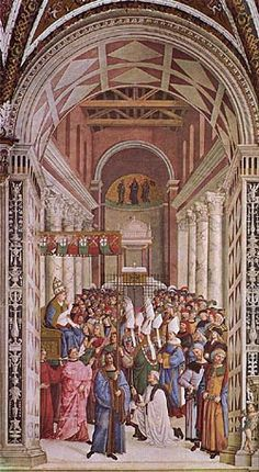 The Coronation of Pope Pius II. The Pope appears in the scene, placed on his throne beneath the canopy with the Piccolomini coat of arms, intent on taking possession of the Lateran Basilica and facing him is the Sexton who is burning a piece of cloth whilst pronouncing the admonishment ritual . By Pintoricchio