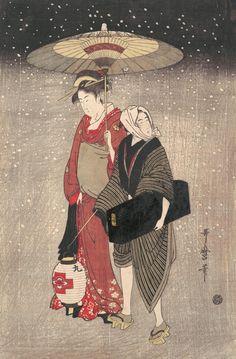 """Geisha Walking through the Snow at Night"" Artist: Kitagawa Utamaro (Japanese, ca. 1754–1806). Period: Edo period (1615–1868). Date: ca. 1797. Culture: Japan."