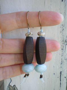 Boho Beach knotted  wood earrings. lampwork by jettabugjewelry, $26.00