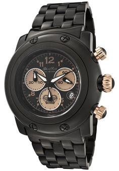 Glamrock Ladies' Miami Chronograph Watch In Black & Beige - Beyond the Rack Rock Watch, Beyond The Rack, Amai, Glam Rock, Black Stainless Steel, Watch Sale, Bvlgari, Casio Watch, Luxury Watches
