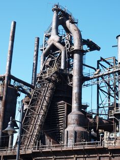 A monument to the Industrial Age in Bethlehem, PA. It is a steel furnace.  Photo By Katheryn Nikolich