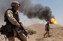 The 2003 Invasion of Iraq (19 March – 1 May 2003), was the start of the conflict known as the Iraq War, or Operation Iraqi Freedom, in which a combined force of troops from the United States, the United Kingdom, Australia and Poland invaded Iraq and toppled the regime of Saddam Hussein in 21 days of major combat operations. The invasion phase consisted of a conventionally fought war which concluded with the capture of the Iraq capital Baghdad by United States forces.
