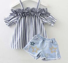 Stripe Cold Shoulder Ruffle Trim Top And Star Pattern Denim .- Stripe Cold Shoulder Ruffle Trim Top And Star Pattern Denim Shorts Sets - Casual Outfits For Teens, Girls Summer Outfits, Girl Outfits, Summer Clothes, Casual Clothes, Toddler Fashion, Toddler Outfits, Child Fashion, Baby Suit