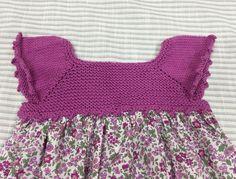 Vestido con el cuerpo de punto tejido por una alumna y confeccionado en su clase de costura. Patrón, algodón y tela de @clubdelabores @modainfantilmadeinspain @ideas_modainfantil
