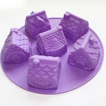 X-Haibei 3d Mini Houses Bundt Cake Soap Christmas Gift Gingerbread Houses Silicone Mold