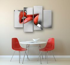 Red Lips Artwork Canvas Print Set - Nothing decorates a space like a stunning wall art set. This sensual black and white wall art piece will stun and intrigue with vibrant red accents of luscious kissing lips. Red Wall Art, Black And White Wall Art, Panel Wall Art, Wall Art Sets, Red Home Decor, Unique Home Decor, Cheap Artwork, Wood Plank Walls, Modern Canvas Art