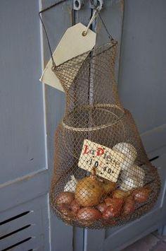 old metal minnow basket...brilliant!!!