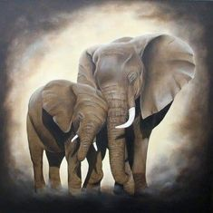 Artwork >> Chantal Rousselet >> Lamour d une mother The elephants (oil on canvas of flax) - Inches x 31 Inches) Best Friend Drawings, Oil Pastel Art, Prophetic Art, Safari Animals, Print Pictures, Custom Art, Cool Artwork, Les Oeuvres, Oil On Canvas
