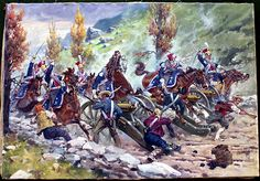 Napoleon's Cavalry Charging Spanish Artillery at Somosierra in 1808 (Original) (Signed) art by Edward Mesjasz Archive