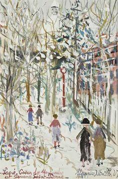 Sacré-Coeur de Montmartre et square Saint-Pierre, 1933, Maurice Utrillo. French (1883 - 1955)