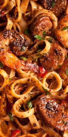 Creamy Cajun Shrimp Pasta with Sausage is easy to make weeknight pasta dish! With only 30 minutes of total work, this shrimp pasta dinner recipe is simple, fast and delicious! Ingredients: large shrimp Cajun seasoning (or Creole seasoning) Oregano 2 Sausage And Shrimp Recipes, Shrimp And Sausage Pasta, Cajun Shrimp Pasta, Shrimp Recipes For Dinner, Shrimp Recipes Easy, Seafood Recipes, Cooking Recipes, Parmesan Shrimp, Creamy Cajun Chicken Pasta