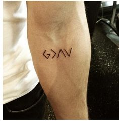 "I like that this tattoo is small, cryptic and meaningful. ""God is greater than the highs and lows"""