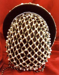 French Hair Nets | Elizabethan Style French Hood with Gold Hair Net Back View