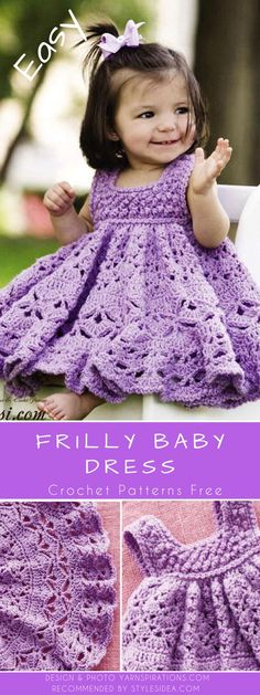 Newest Totally Free Crochet baby girl patterns Concepts Crochet Frilly dress Free Pattern – Crochet Girls Dress Free Patterns Crochet Baby Dress Free Pattern, Crochet Dress Girl, Crochet Baby Blanket Beginner, Baby Dress Patterns, Baby Girl Crochet, Skirt Patterns, Coat Patterns, Knitting Patterns, Blouse Patterns