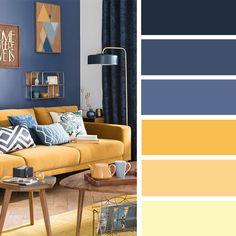 100 Color Inspiration Schemes : Blue + Yellow Color Palette #colorpalette #color