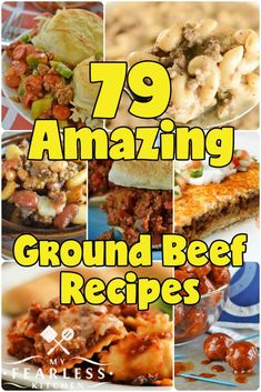 79 Amazing Ground Beef Recipes from My Fearless Kitchen. Ground beef is a staple for quick and easy meals, but sometimes it can be hard to come up with new ideas. You'll love this list of 7 Ground Beef Recipes For Dinner, Dinner With Ground Beef, Ground Beef Recipes Easy, Easy Dinner Recipes, Healthy Ground Beef, Quick Recipes, Hamburger Meat Recipes Easy, Easy Chicken Recipes, Easy Meals For Kids