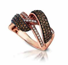 14K Rose Gold Plated Chocolate Crystals Crossover Ring