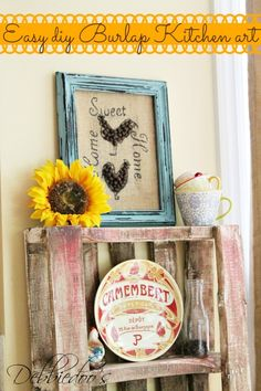 Burlap art work with coffee beans - 20 Interesting and Useful DIY Burlap Projects
