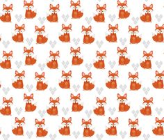 Watercolor Foxes in White fabric by natitys on Spoonflower - custom fabric