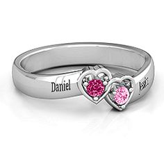 Double Interlocked Hearts Ring #jewlr