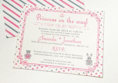 Double sided baby shower invitations - baby girl princess party! Click to see them in my store!