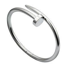 Next purchase, maybe in Vegas? Juste un Clou bracelet - Rodium plated white gold - Fine Bracelets for men and for women - Cartier Bracelet Juste Un Clou, Bracelet Clou, Cartier Nail Bracelet, Cartier Armband, Cartier Jewelry, Bracelet Clasps, Jewelery, Silver Jewelry, Wire Jewelry