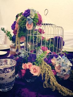 Vintage centerpice. White birdcage hydrangea and green amaranthus #love