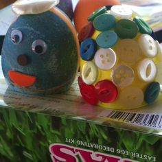 """Buttons and """"Pierre"""" my French Easter eggs."""