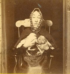 Portrait of Nancy Luce, island eccentric, and her bantie hens at Martha's Vineyard, Massachusetts.
