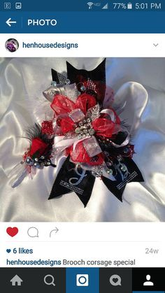 Red and black ribbon prom corsage for special order from Hen House Designs. Check out this item in my Etsy shop https://www.etsy.com/listing/271389295/special-order-bling-ribbon-prom-corsage