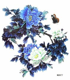 Blue peony flowers with butterfly Large temporary by Coolfashion4u