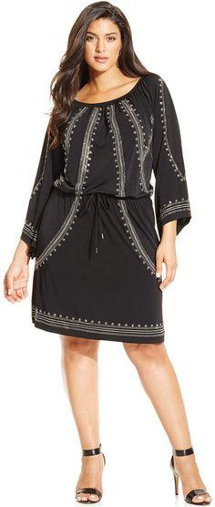 Plus Size Embellished Blouson Dress