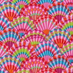 Coupon de Tissu Kaffe Fassett Rose Fans Pink 45x55cm
