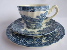 Blue and White English Teacup and Plate by ALittleBitOfParis, $20.00