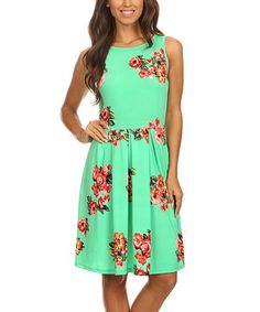 Look at this #zulilyfind! Mint Floral Sleeveless A-Line Dress by Pretty Young Thing #zulilyfinds