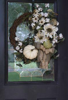 Fall Farmhouse Wreath, Pumpkin wreath, Rustic Farmhouse Fall Door wreath with Cotton, Autumn Sunflow - New Deko Sites Double Door Wreaths, Autumn Wreaths For Front Door, Diy Fall Wreath, Fall Door, Wreath Ideas, Easy Fall Wreaths, Farmhouse Fall Wreath, Rustic Farmhouse, Cotton Wreath